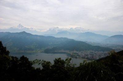 Fewa Tal and the Annapurna range from the Peace Pagoda
