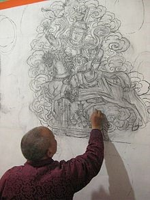 Lama Shashi drawing in the new gyalpo © S Barakzai 2013